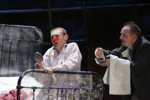 """As Ivan in """"THE NOSE"""" with Jeremy Huw Williams (Kovalyov) for The Opera Group."""